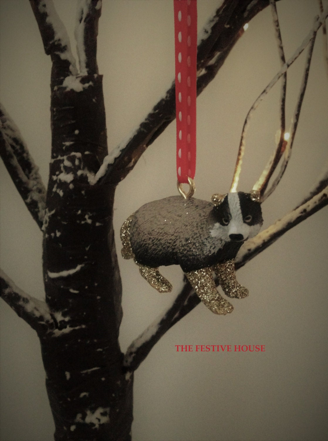 Badger Christmas Tree Decoration  Animal Tree Decoration Tree Ornament