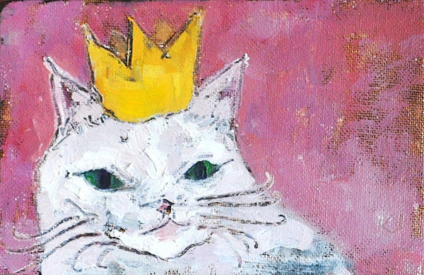 Cat Paintings and Cat Art, Crown Cat by Cat Painting Tuesday