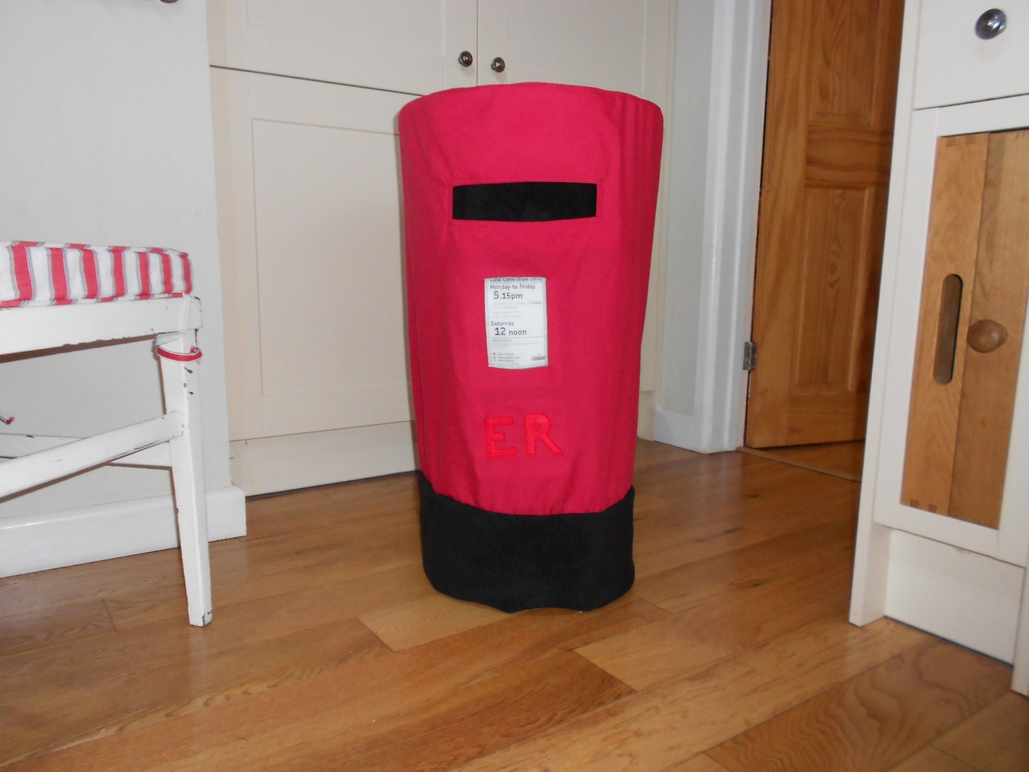 Kitchen Stool Postbox Cover. Childs Dual Purpose RolePlaying Fabric Letterbox.Kitchen Bin Cover. Tablecloth Pilllarbox