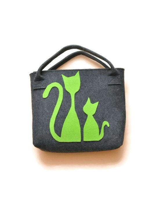 Felt Handbag, bag with cat, felt bag, grey, green, christmas gifts - AgathasBags