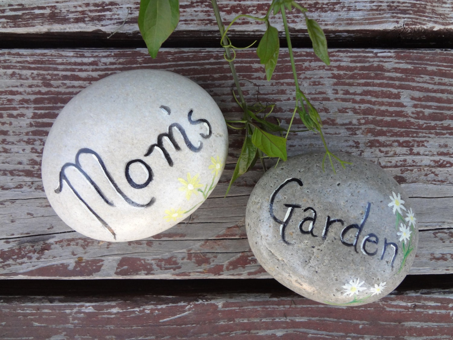 Cute mom 39 s garden hand painted stone garden by overbrookstone - Hand painted garden stones ...