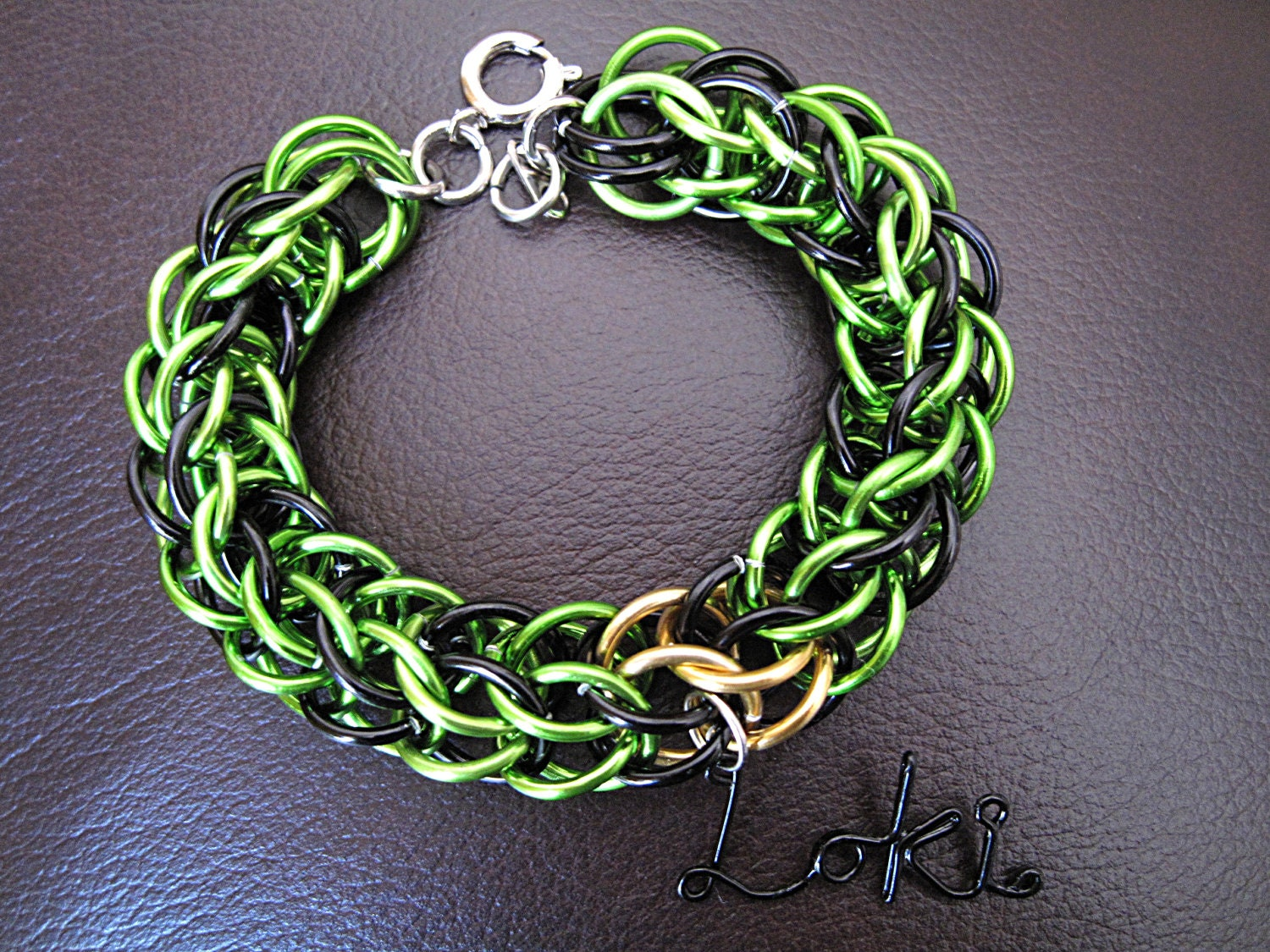 Avengers Loki Chainmaille Bracelet by SunSynJewelry on Etsy