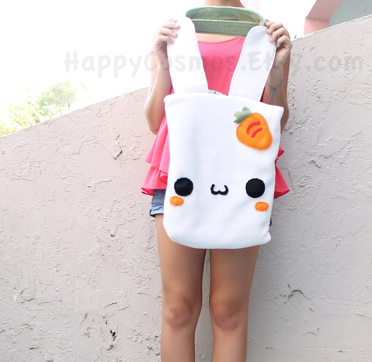 Bunny Tote Bag , Cute Tote , Kawaii Bag , School Backpack, Bookbag