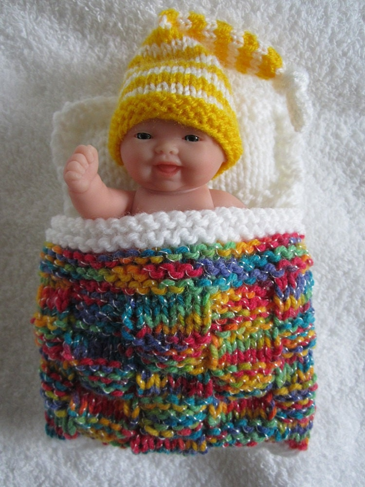 Knitting Pattern Doll Sleeping Bag : Items similar to Berenguer Baby Doll Sleeping Bag and Nightcap Hand knit doll...