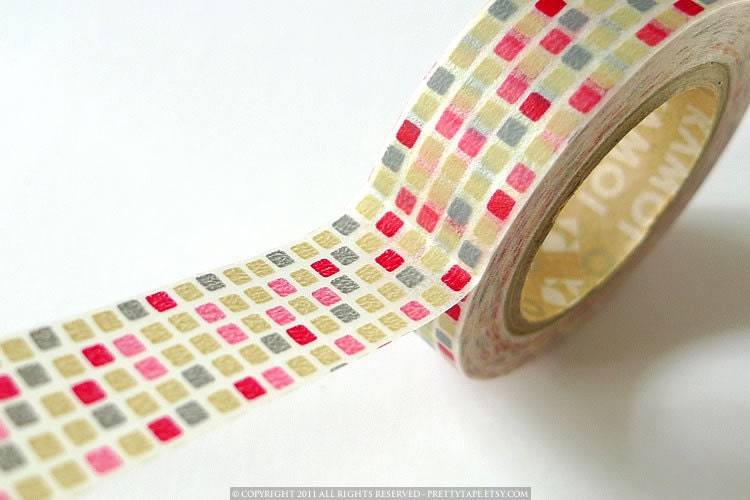 Japanese Washi Tape - Red COLORFUL GRID Pattern mt Masking Tape 15mm for gift packaging and paper craft