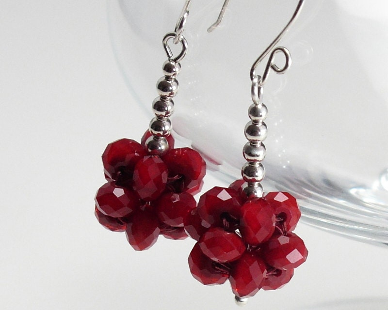 Red Earrings, Beaded Jewelry, Cube Dangle Ear ...