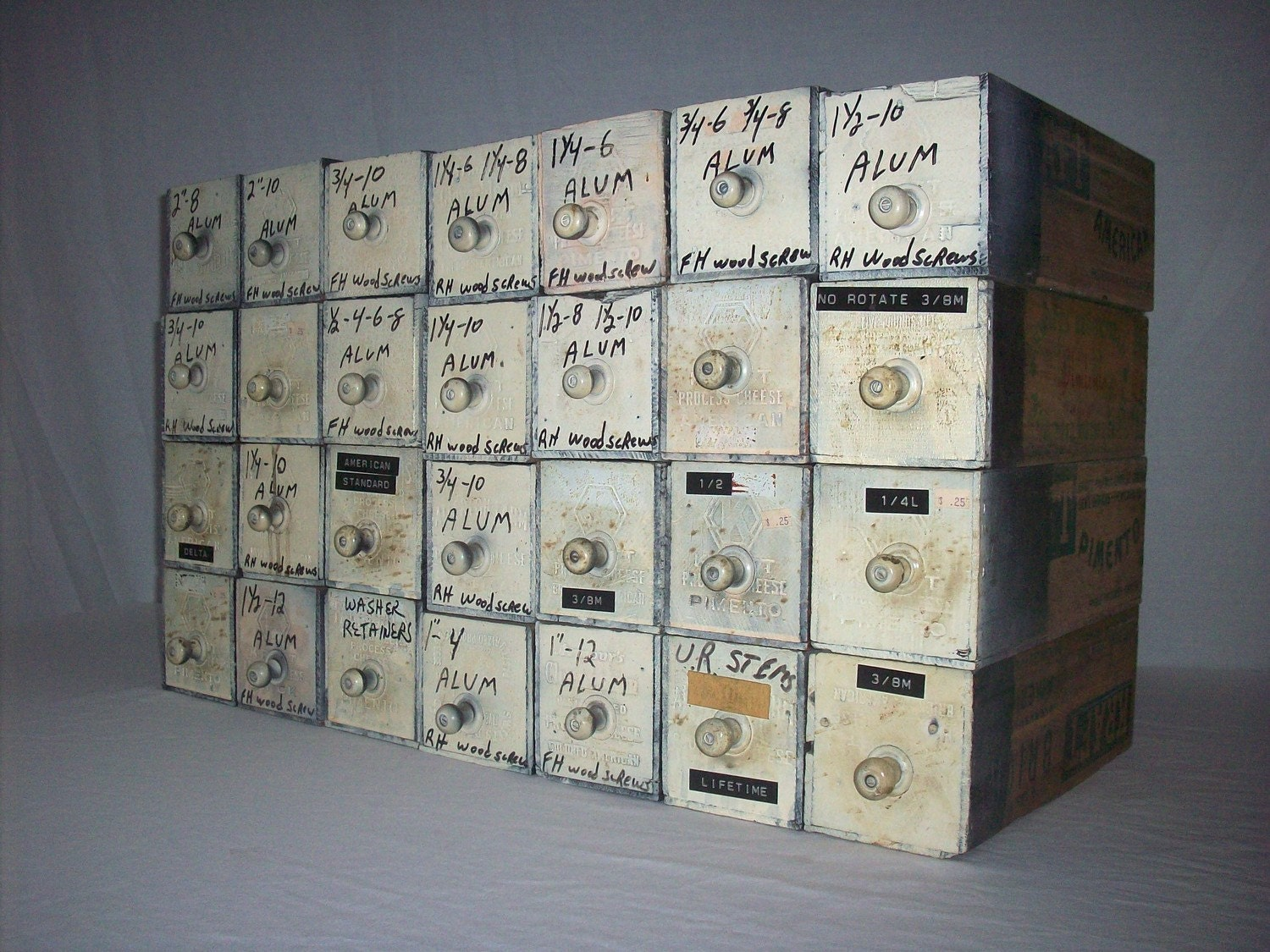 Vintage Printed Wood Cheese Boxes / Hardware Storage Bins / 28 Boxes / White