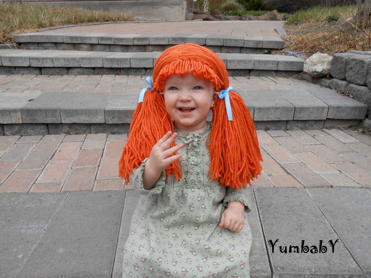 Orange Doll Wig Cabbage Patch Inspired Baby Hat Baby Girl Halloween Costume Pageant Hair Yarn - YumbabY