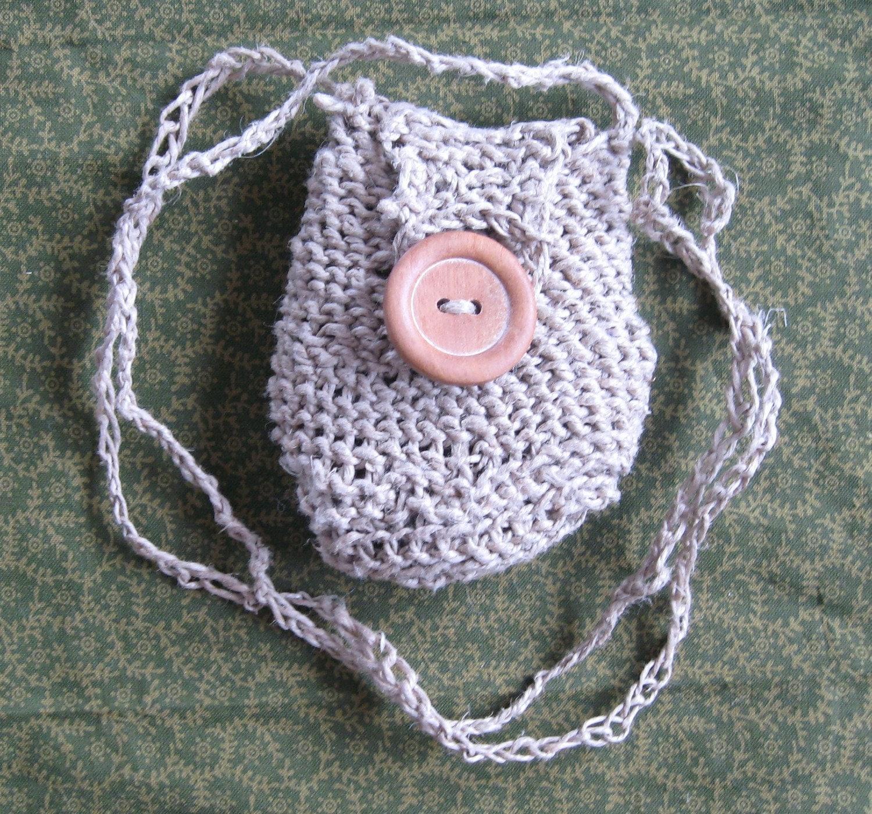 Crochet Medicine Bag Pattern : Crocheted Hemp Medicine pouch Summer Sale Free by NaturesGoods