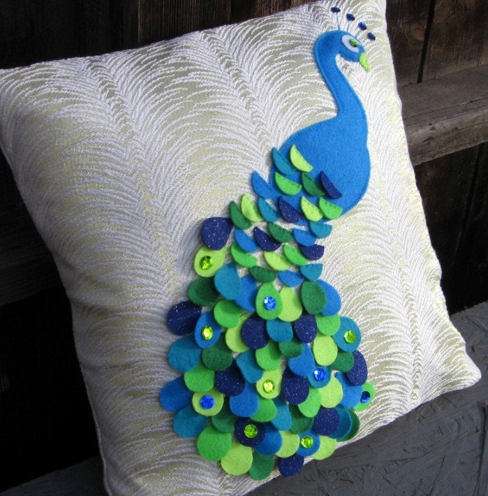 Recycled Felt Applique Peacock Pillow With by SalvagedThreads