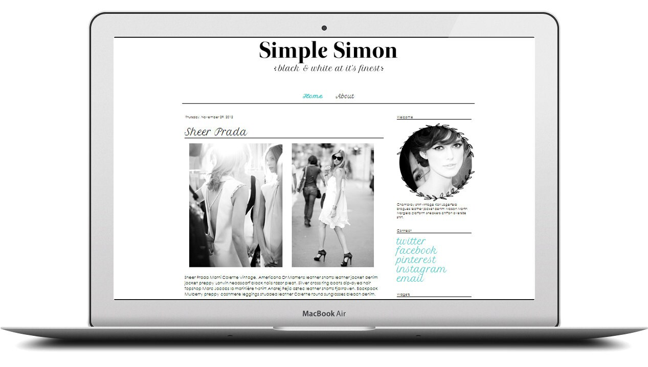 simple black and white blogger template free blogger template