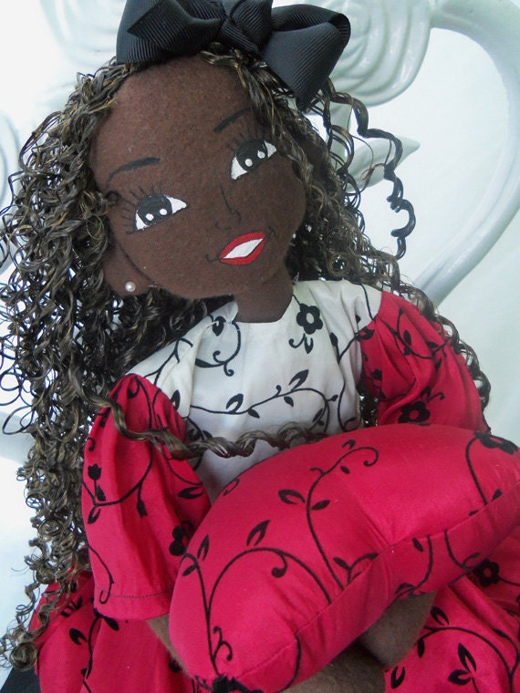 Handcrafted cloth ooak doll African American