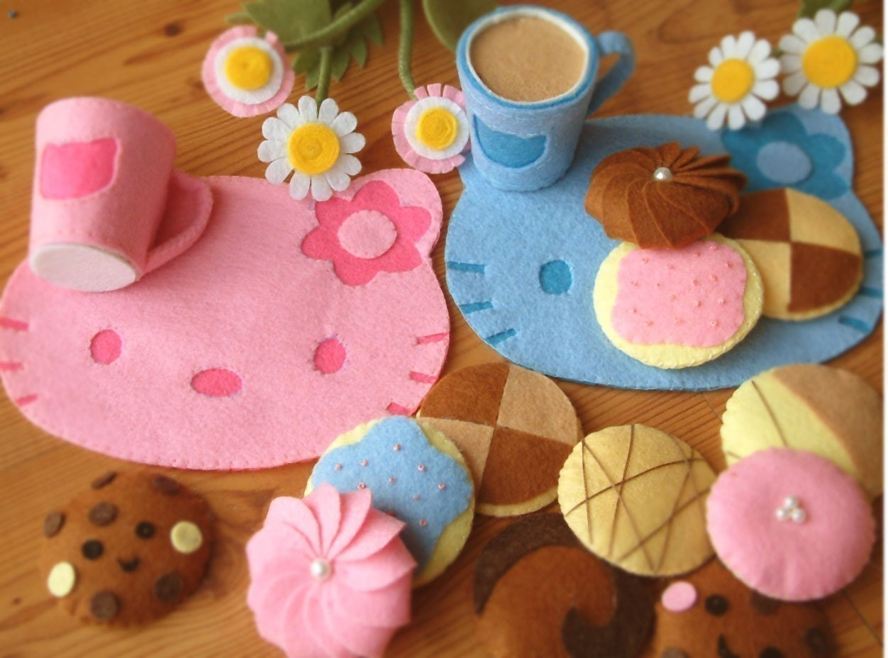 DIY felt Lovely Cookie set and cups,place mat--PDF Pattern via Email--F20