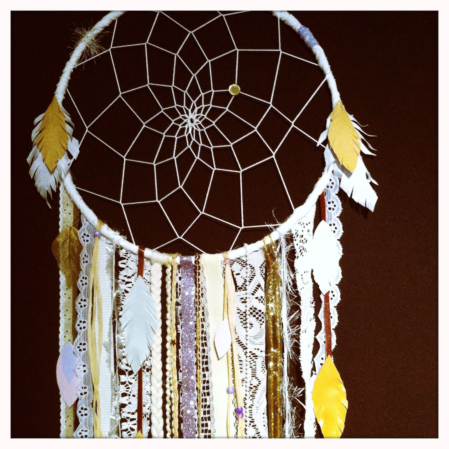 ELEANOR: Big White Dream Catcher FREE SHIPPING lavender vintage lace trims