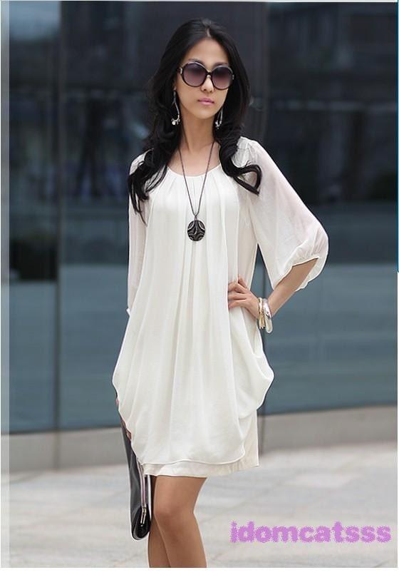 1Name : سفید را مشاهده کنید از طریق گفتگوی دور گردن آستین لباس 25
