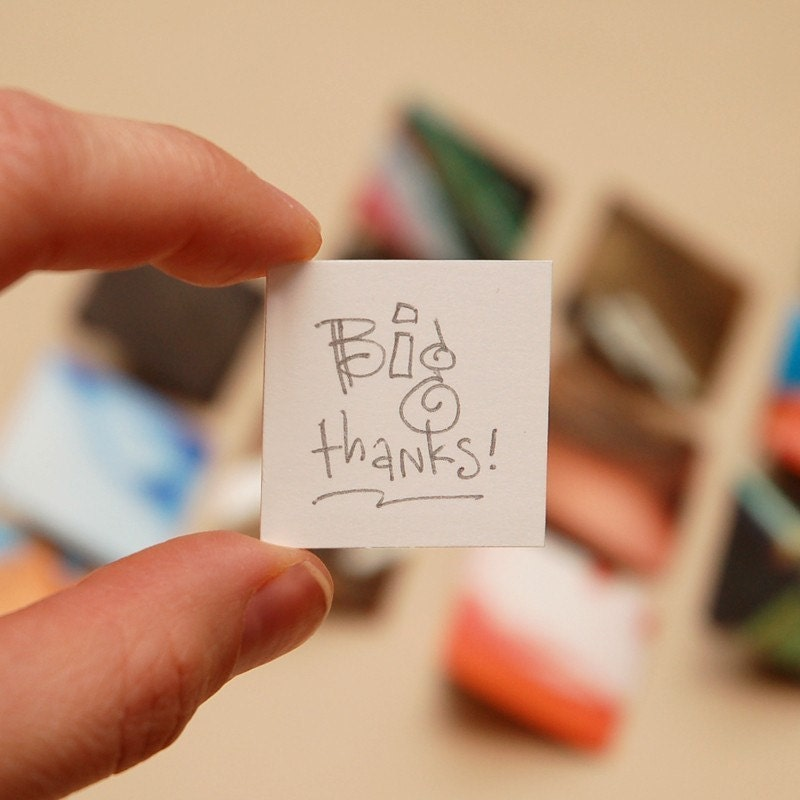 BIG THANKS - teeny tiny recycled envelopes and hand-lettered cards (set of 12)