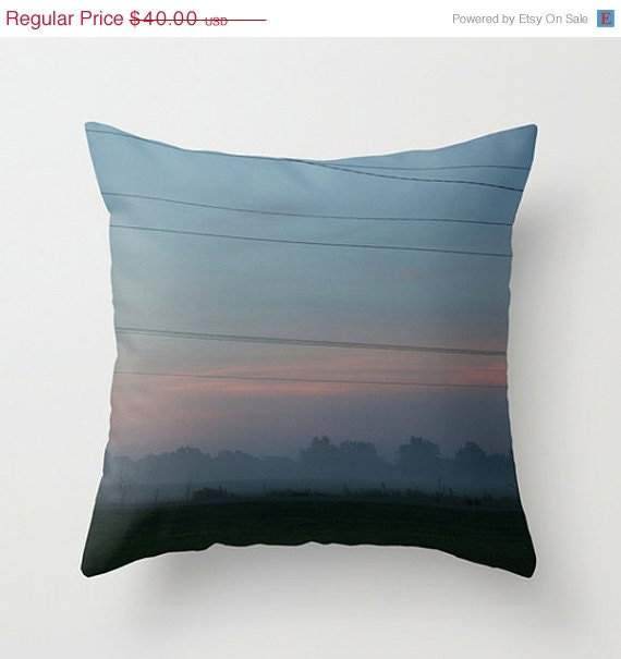 SALE - Christmas In July Oklahoma Dawn Through the Mist Home Decor Throw Pillow - Cover Only - Rural America Landscape - LoudWaterfallPhoto