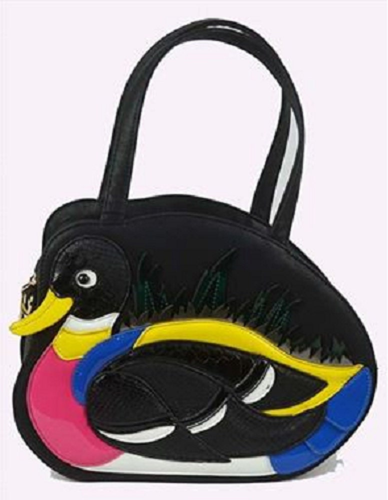 Statement Cute Faux Leather Retro 3D Duck Animal Textured Handbag Black Multi