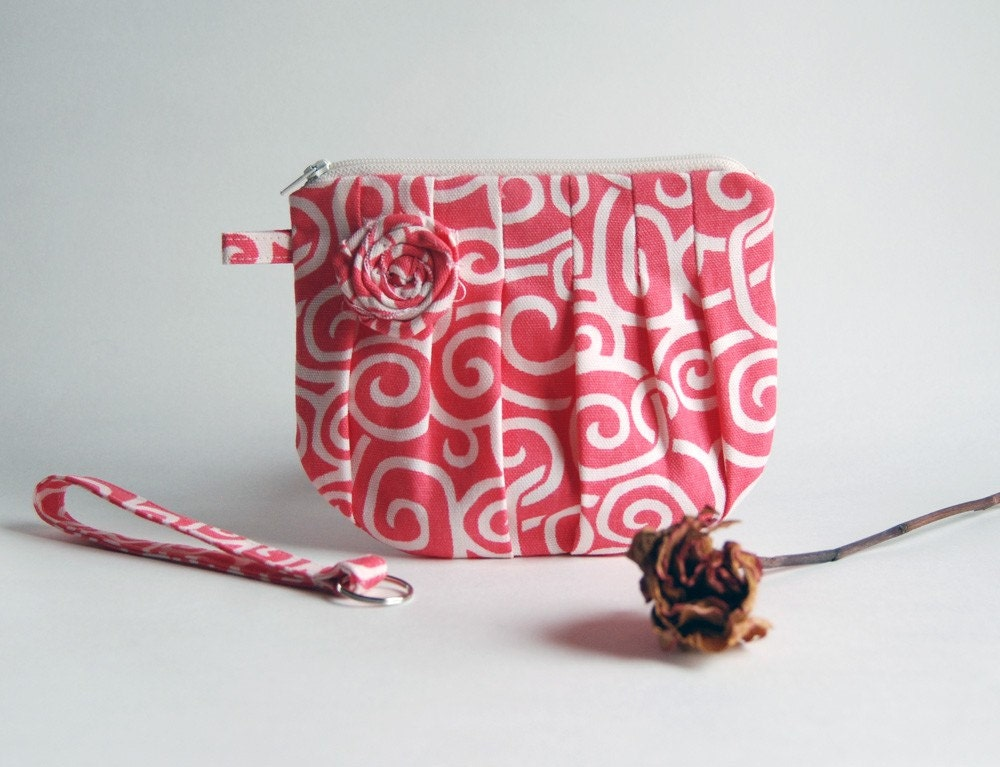 On Sale 15% OFF-Romantic Rosebud pleats in bright coral-pink white zippered pouch, purse, clutch, wristlet by Lolos