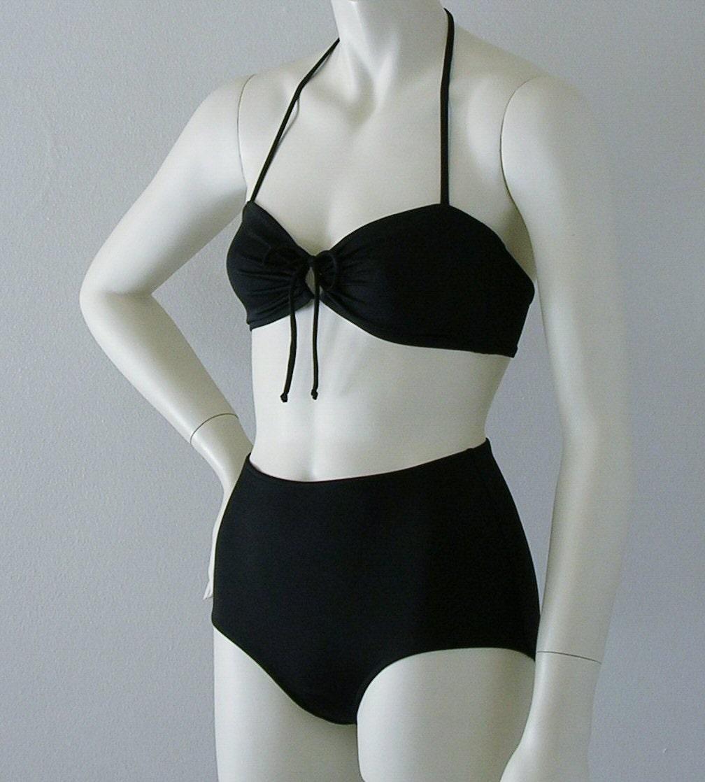 Black Retro Vamp Bikini in Custom Sizes. From Harajuku
