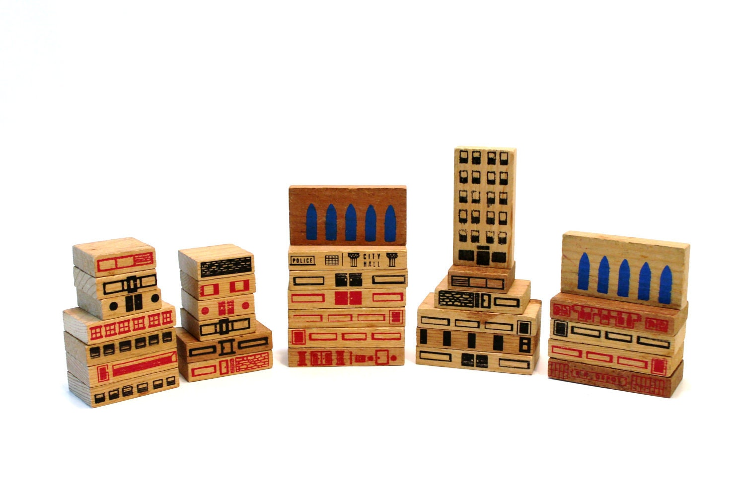 Vintage City Building Blocks Set - modfolk