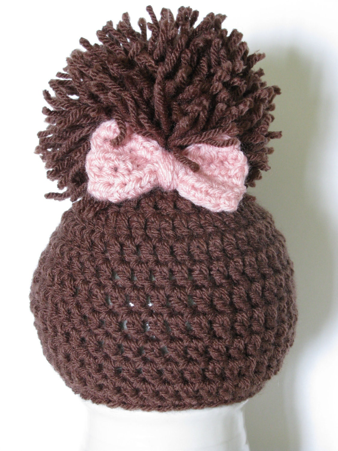 Crochet Baby Hat Pattern With Pom Pom : Crochet Newborn Baby Girl Pom Pom Hat Crochet by AllHookdUp