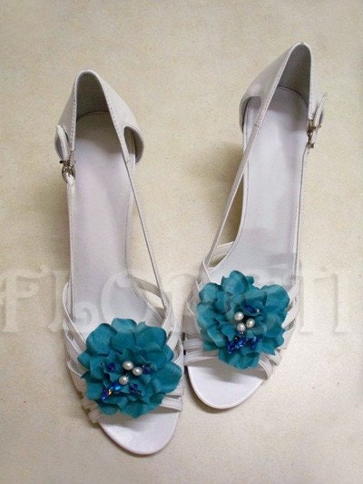 Turquoise Audrey Gardenia Bridal Shoe Clip Accessories Something Blue