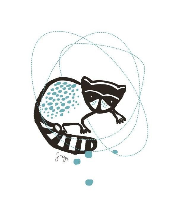 Letterpress Raccoon Print 8x10