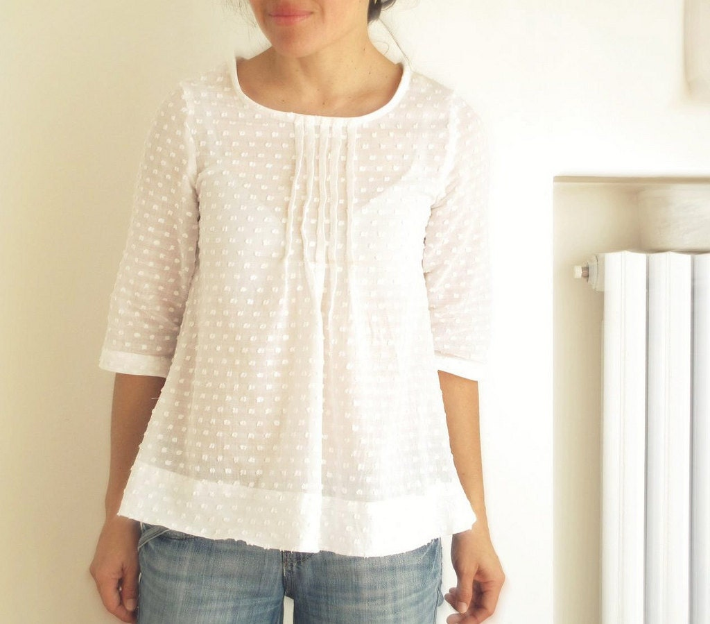 White Pleated Blouse 85