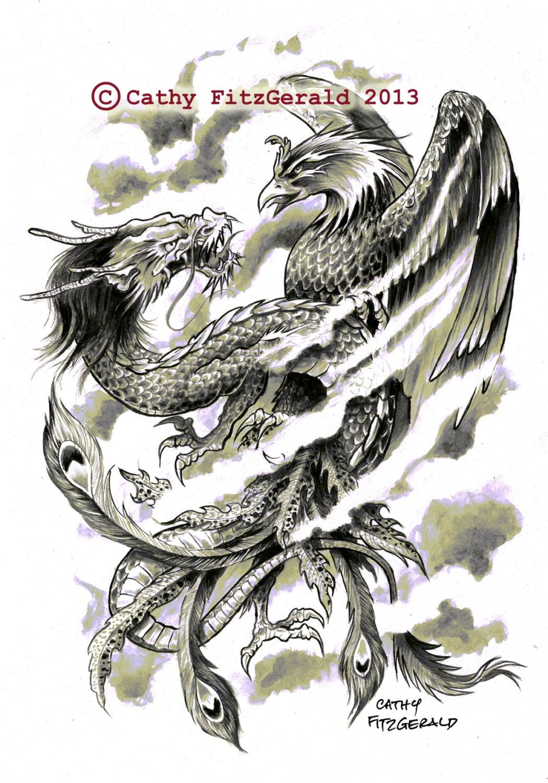 a4 japonais phoenix dragon tatouent art print par misslilylocket. Black Bedroom Furniture Sets. Home Design Ideas