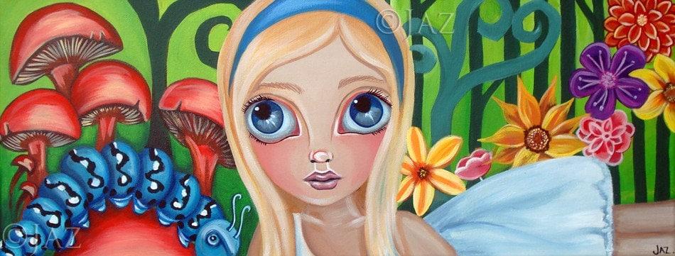 Big ART PRINT - Alice Meets the Caterpillar  - by Jaz - 6x16