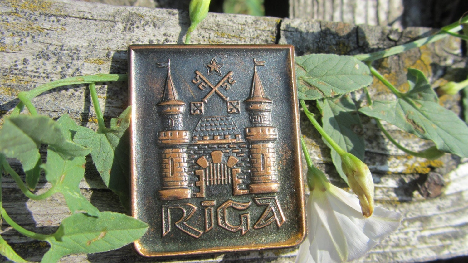 Soviet Vintage Copper Pin Badge Riga City Pin USSR in 1970s, rare pin sigh, deco