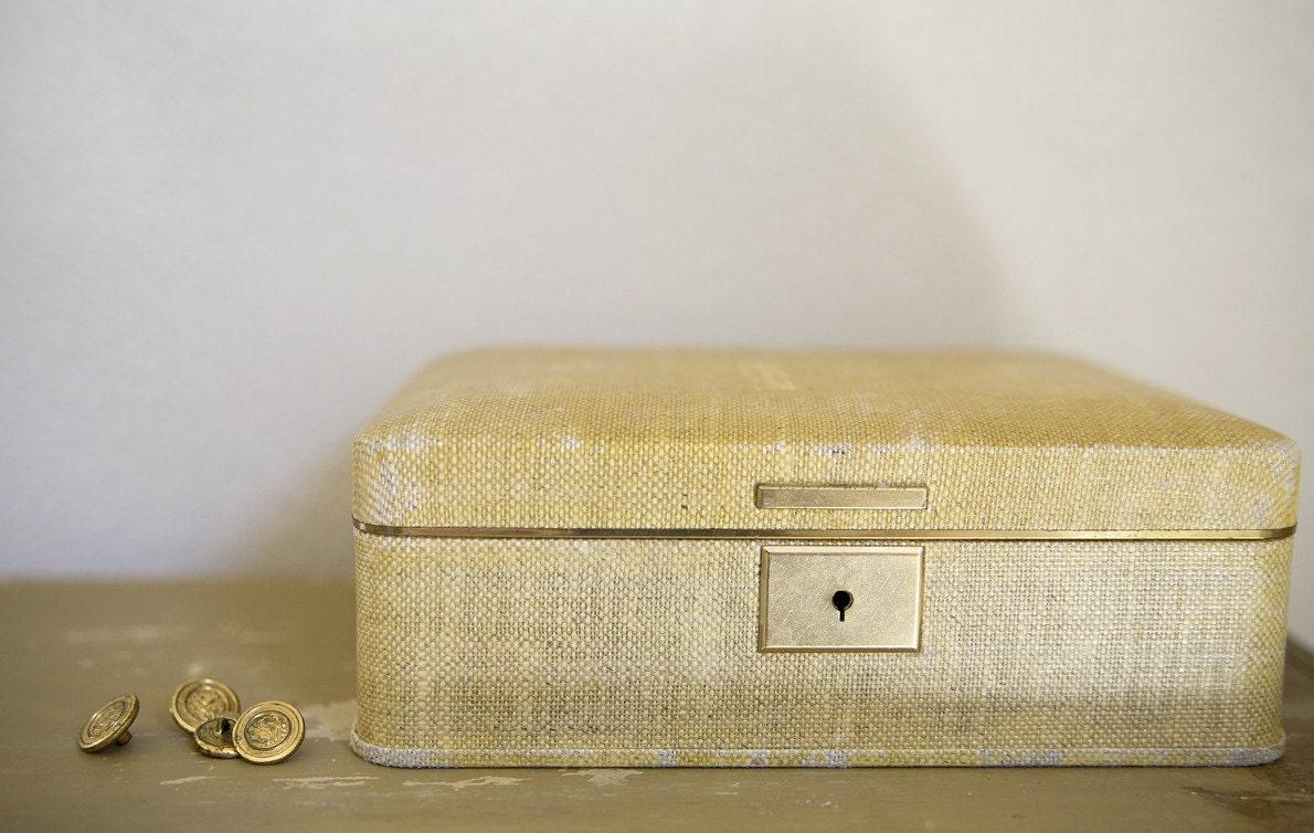 Vintage Yellow Farrington Jewelry Box