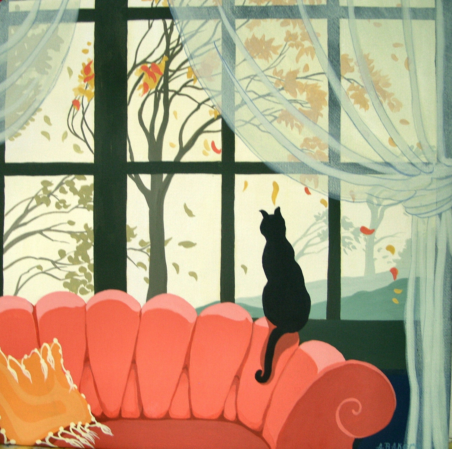 Sofa with a View retro inspired Cat Print