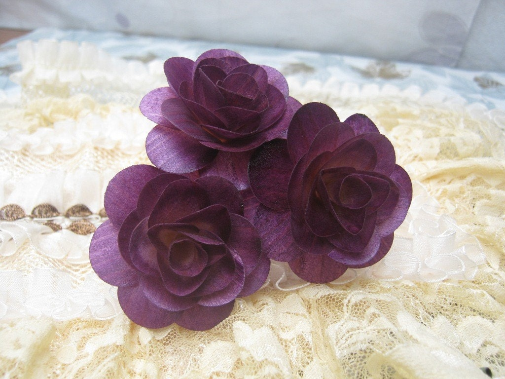 Purple and Silver Wooden Roses wedding wood
