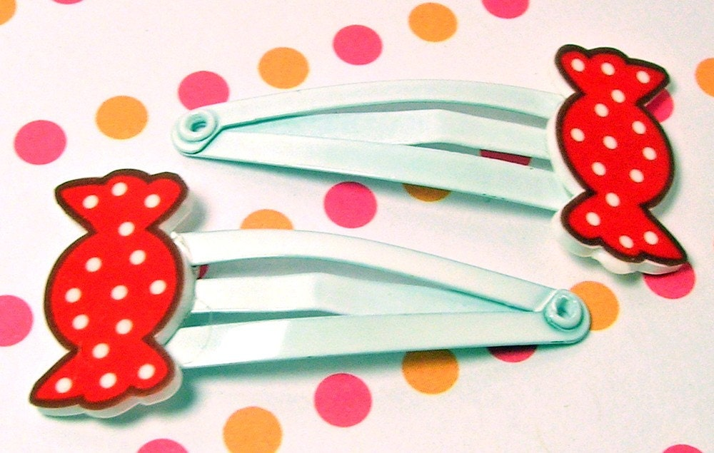 Sweet Red Candy Hair Clips