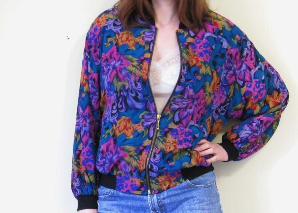 silk floral Bomber JaCKet / 90s silk Jacket / floral print jacket