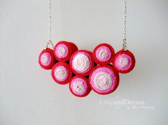 Strawberry Fibre Art  Bib Necklace