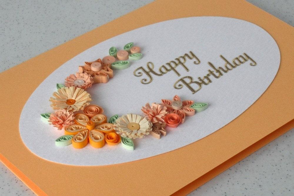 Ручной гофрированный поздравительная открытка день рождения с цветами рюш