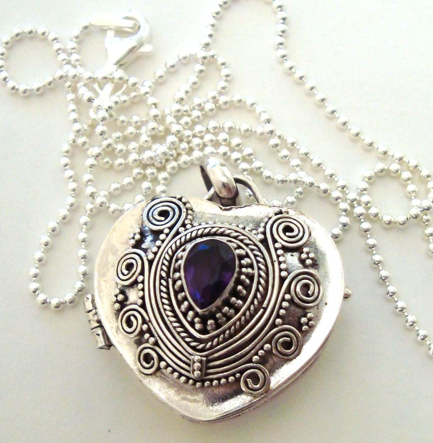 "18"" Sterling silver heart locket keepsake pendant with amethyst & 18"" Italy bead chain - Katybeads"