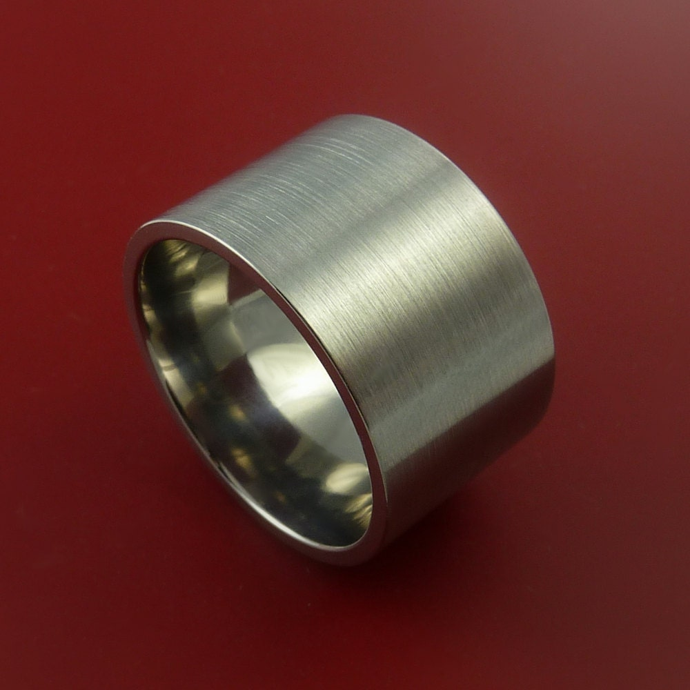 titanium wide wedding band engagement ring by