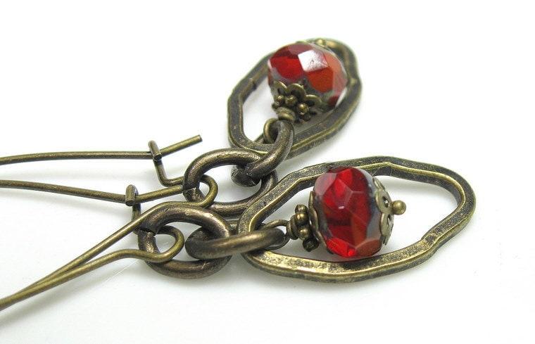 Vintage Style Earrings in Brick Red Orange Czech Glass Big Bold