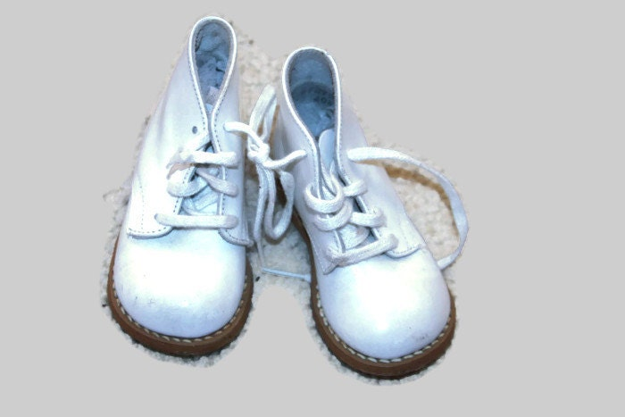 vintage high top baby shoes white leather by sears tiny by