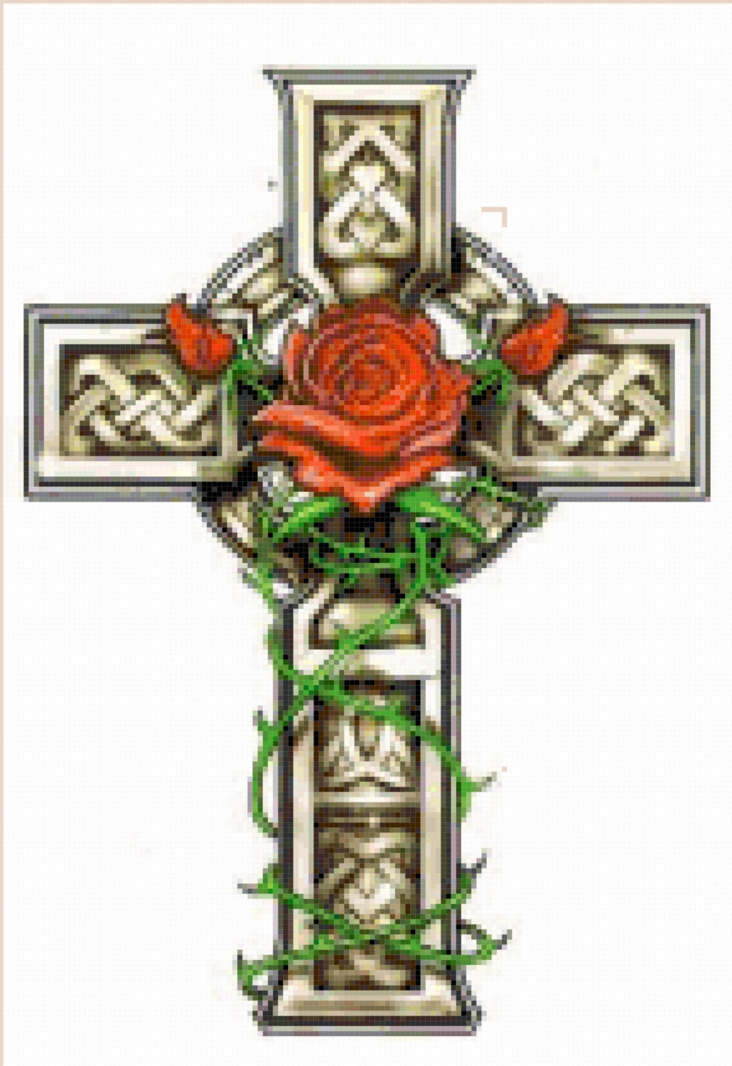 celtic cross with rose and vines cross stitch by