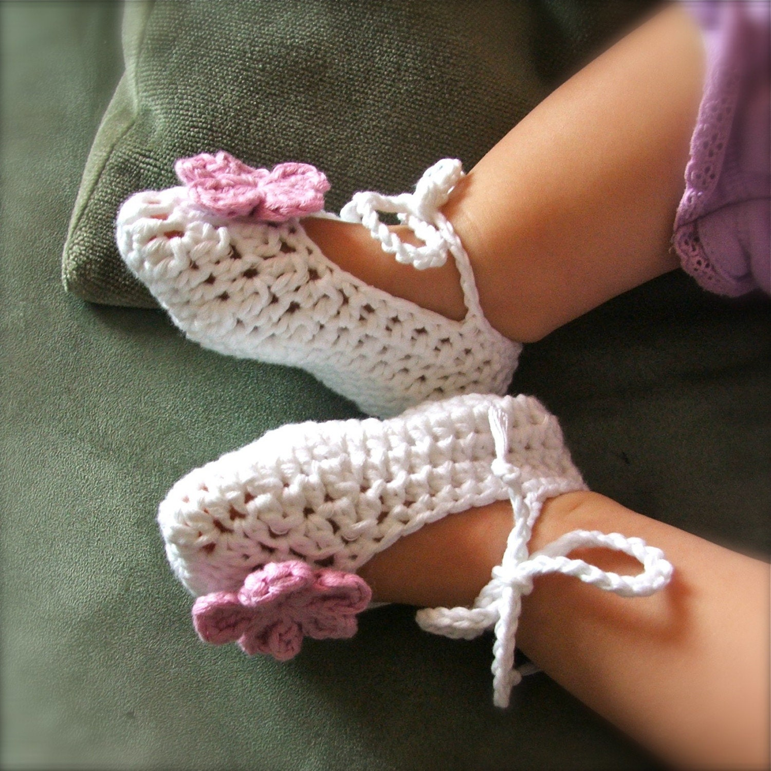 Crochet Baby Slippers And Headband/Belt Set  by bluefishhandmade