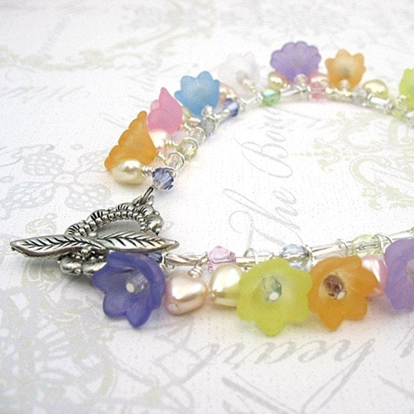 Hearts Flowers Lucite Flower Bracelet