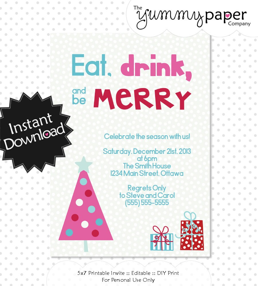 free editable christmas party invitations