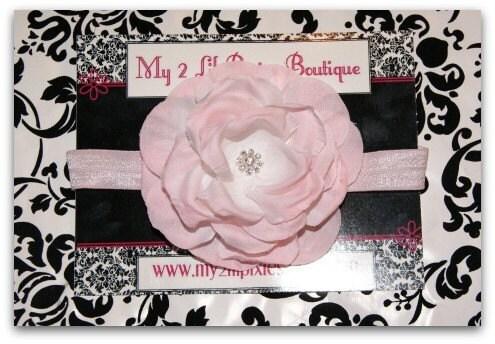 SALE- Shabby Chic Rhinestone Center Soft Pink Flower With an Interchangeable Soft Stretch Cream Nylon Headband- Newborn- Infant- Toddler- Photo Prop