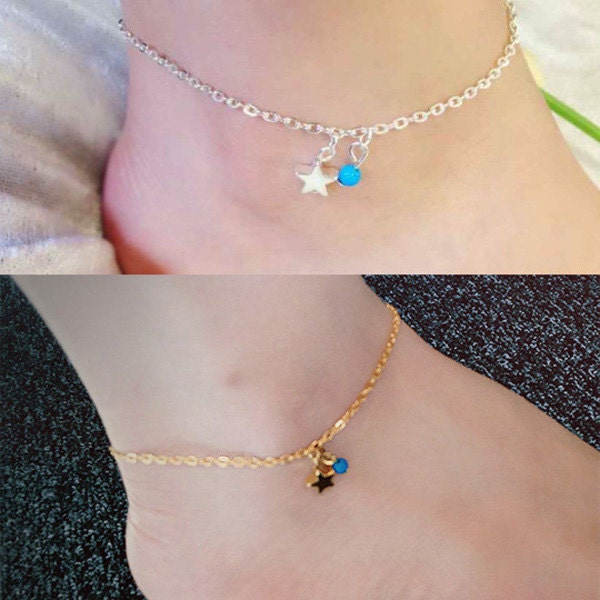 LuxMee Simple Elegant Star Charm with Blue Bead Anklet Foot Chain Ankle Bracelet UK