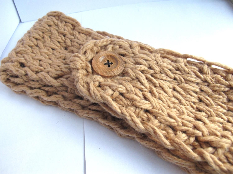 Organic Cotton Knit Headband in Camel